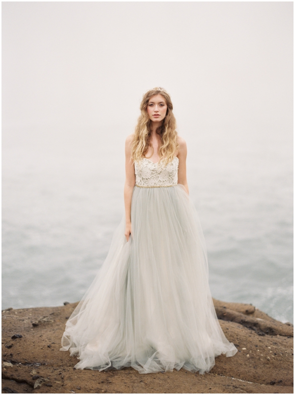 grey wedding dress with tulle